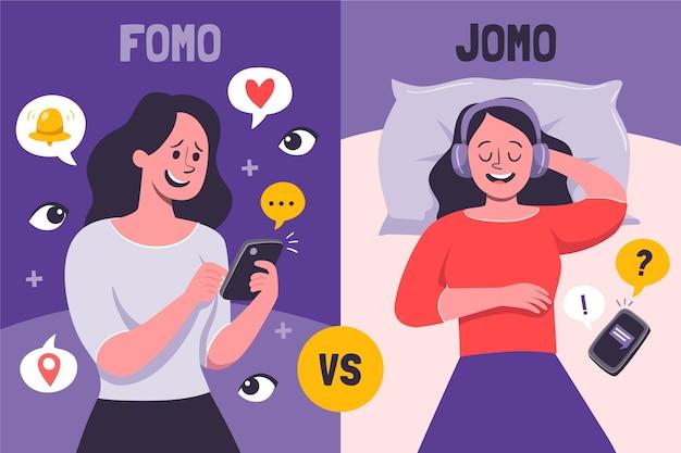 Fomo vs jomo illustratie Gratis Vector