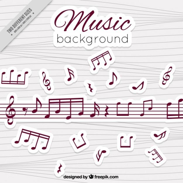 Fondo De Pentagramas Y Notas Musicales De Colores Vector Gratis