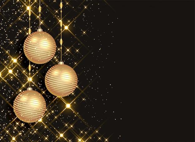 Fonkelende kerstballen op zwarte achtergrond Gratis Vector