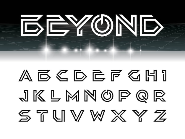 Font beyond silver Premium Vector