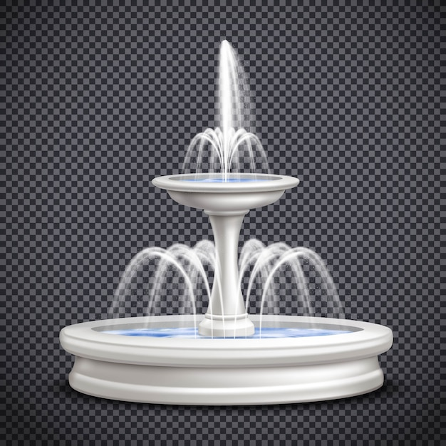 Fonteinen realistische geïsoleerde transparante samenstelling Gratis Vector