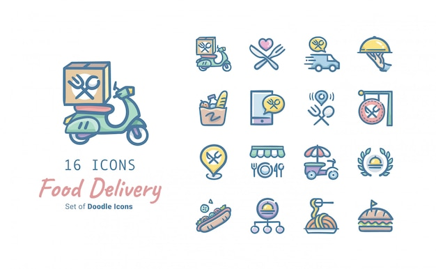 Food delivery doodle icon collection Premium Vector