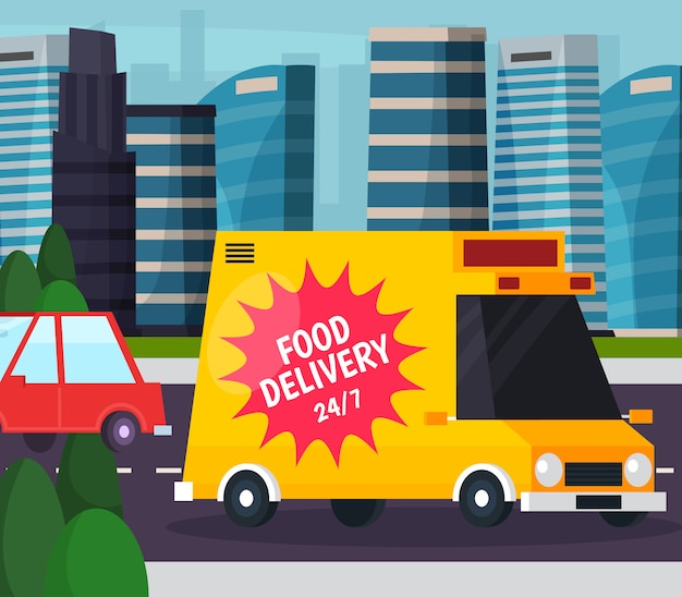Food delivery orthogonale platte samenstelling Gratis Vector