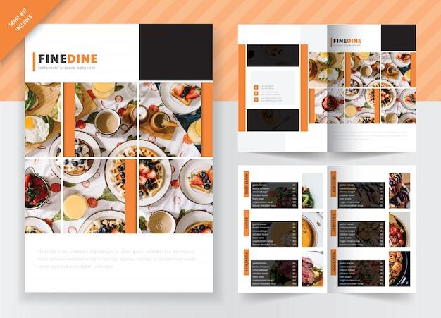 Food & restaurant marketing concept bifold brochure sjabloonontwerp Premium Vector