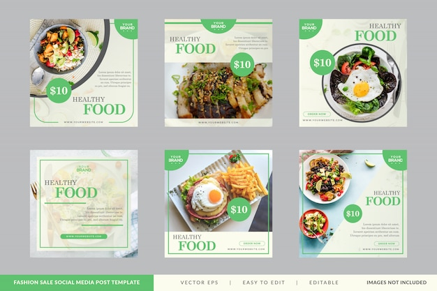 Food restaurant vierkante banner collectie Premium Vector