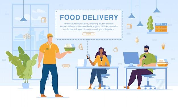 Food set maaltijden levering aan office service websjabloon Premium Vector