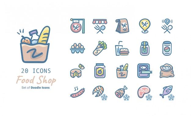 Food shop doodle icon collectie Premium Vector