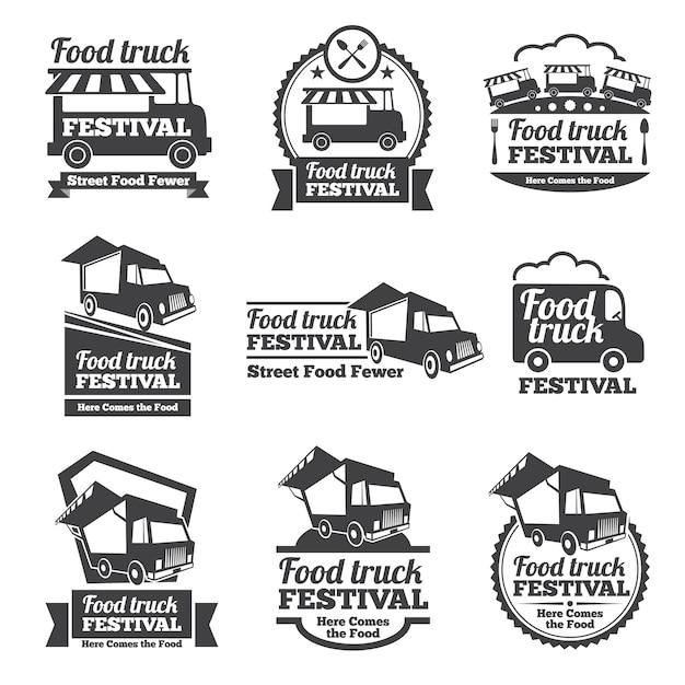 Food truck festival emblemen en logo's vector set. festival straatvoedsel, badge food festival, embleem food truck illustratie Gratis Vector