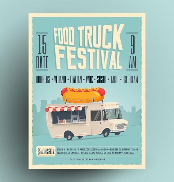 Food truck festival poster, flyer, straatvoedsel sjabloon Premium Vector