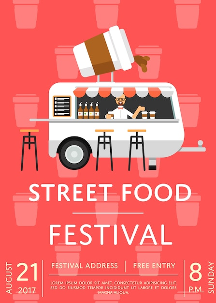 Food truck festival uitnodiging poster in vlakke stijl Premium Vector