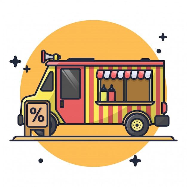 Food truck met korting premium pictogram illustratie Premium Vector