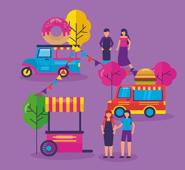Food trucks festival plat ontwerp Gratis Vector
