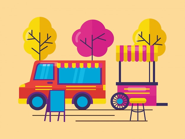 Food trucks in vlakke stijl Gratis Vector