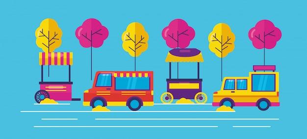 Food trucks in vlakke stijl Gratis Vector