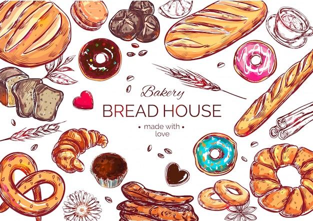 Food view bread composition Gratis Vector