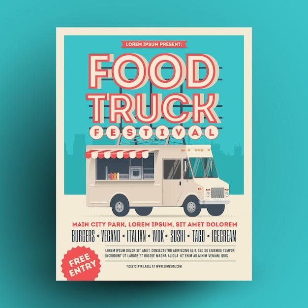 Foodtruck of straatvoedsel festival poster of flyer ontwerpsjabloon. Premium Vector
