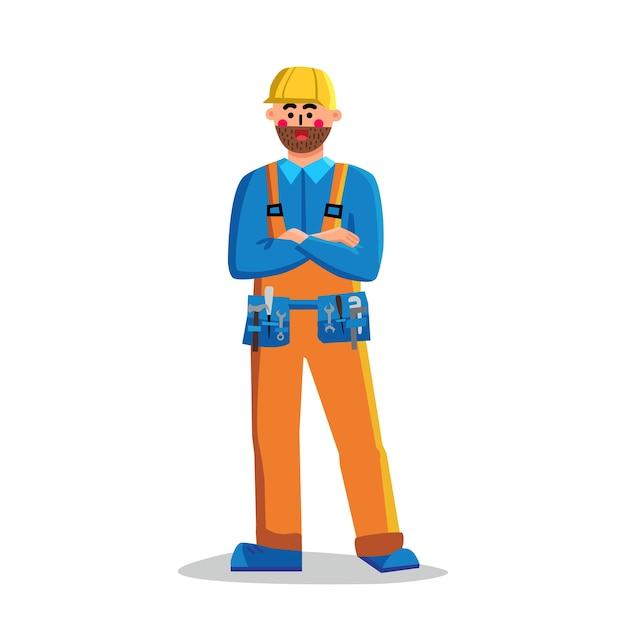 Foreman bouwvakker man gekruiste armen Premium Vector