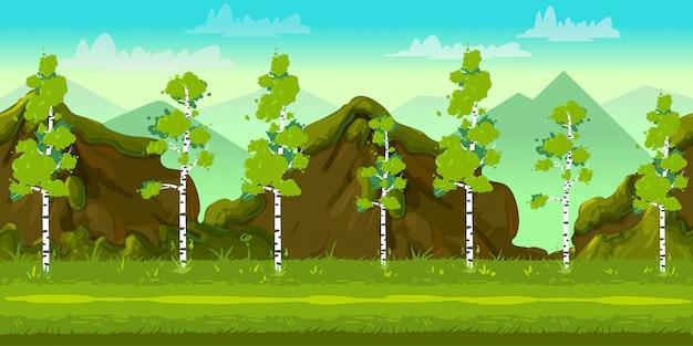 Forest and stones 2d game landschap voor games Premium Vector