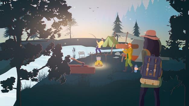 Forest camp. rust in het bos met tenten. voedsel op de brandstapel, vissen, visser, houthakker. Premium Vector