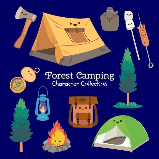 Forest camping character collection Premium Vector