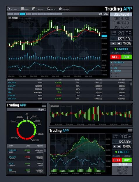 Forex marktapp interface met zakelijke financiële marktgrafieken en globale economische gegevensgrafieken Premium Vector
