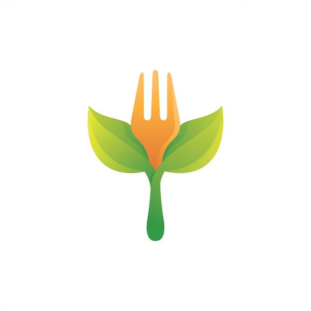 Fork food en green leaf logo Premium Vector