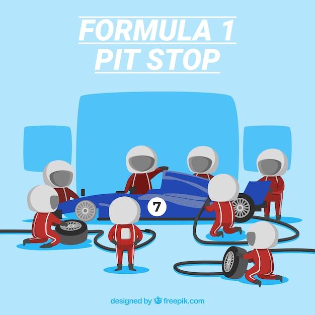 Formule 1 pitstop-werknemers Gratis Vector