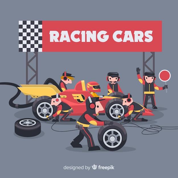 Formule 1 pitstops werknemers achtergrond Gratis Vector