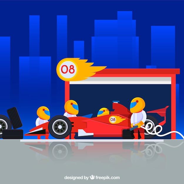Formule 1 pitstopwerkers met plat ontwerp Gratis Vector