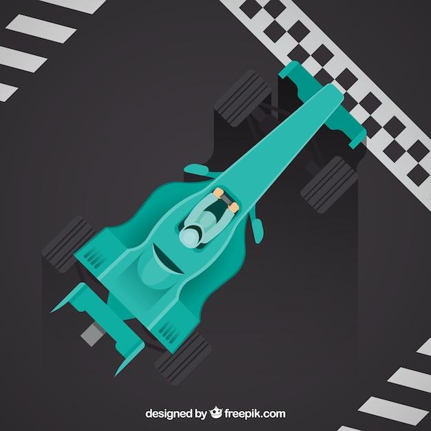Formule 1-raceauto bij de afwerkingslijn met bovenaanzicht Gratis Vector