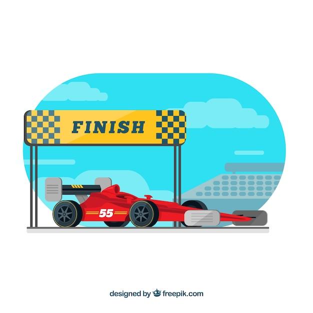 Formule 1-raceauto bij de finish Gratis Vector