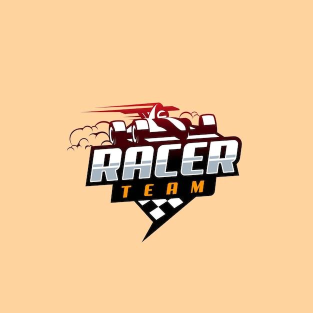 Formule 1 racing logo-ontwerp Premium Vector