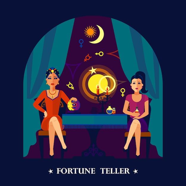 Fortune teller cristal ball flat illustratie Gratis Vector