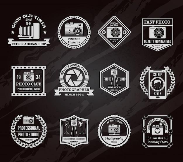 Foto-industrie schoolbord emblemen instellen Gratis Vector