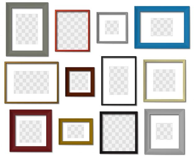 Foto lijstje. muurbeeld verschillende kleurenframes, moderne vierkante grens met realistische geplaatste schaduwen. minimale fotolijstmodellen voor binnen op transparante achtergrond. fotografie grenzen Premium Vector
