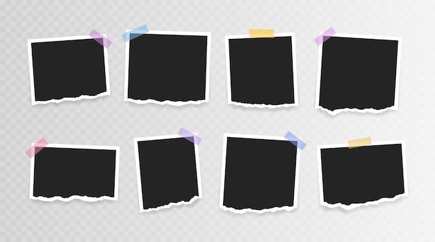 Foto lijstje . super set fotolijst met gescheurd papier op plakband op transparante achtergrond. vector illustratie. Premium Vector