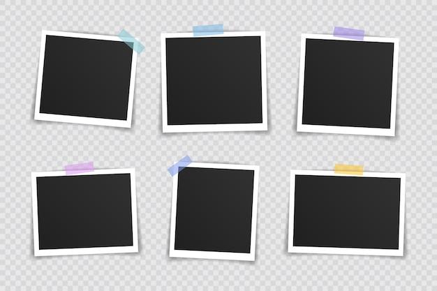 Foto lijstje . super set fotolijst op plakband op transparante achtergrond. vector illustratie. Premium Vector