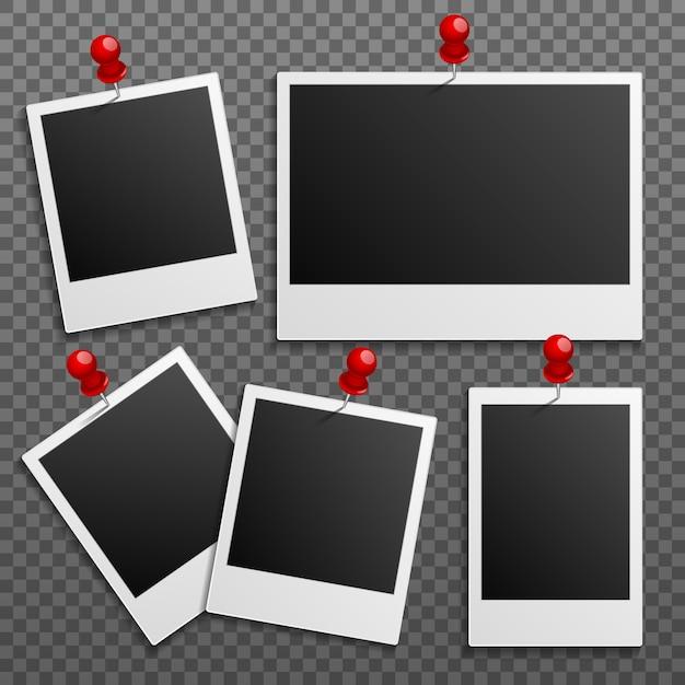 Foto polaroid frames op muur bevestigd met pinnen. reeks Premium Vector