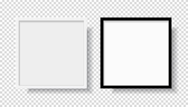 Foto realistische zwart leeg en wit fotolijst, opknoping op een muur vanaf de voorzijde. mockup geïsoleerd op transparante achtergrond. grafische stijlsjabloon. vector illustratie Premium Vector
