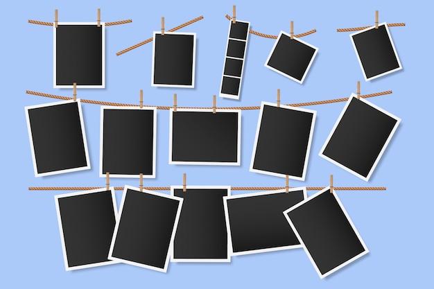 Foto's op wasknijpers. hangende momentopnamen aan touw, vintage lege foto plakboeksjabloon, plakboekalbumfoto's, illustratie van fotoherinneringen. lege afbeeldingen op de waslijn Premium Vector