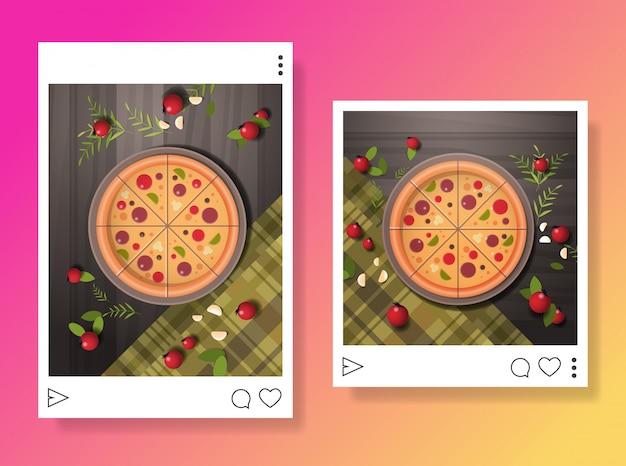 Foto's van bereide smakelijke pizza voor blog eten bloggen social media concept food hunter review horizontaal Premium Vector