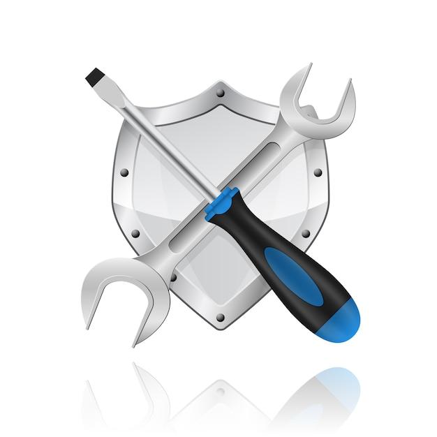 Foto van gekruiste moersleutel en schroevendraaier op witte achtergrond Premium Vector