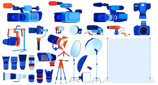 Foto videocamera apparatuur vector illustratie set, cartoon plat professionele fotograaf cameraman moderne tools collectie Premium Vector