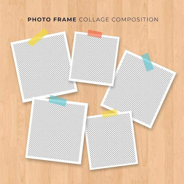 Fotoframe collage op houten achtergrond Premium Vector
