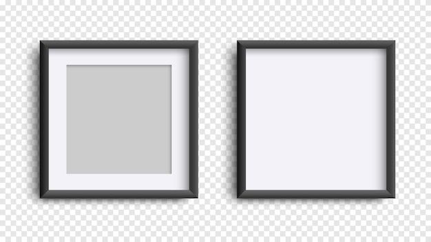 Fotoframes geïsoleerd op wit, realistisch vierkant zwart kadersmodel, vectorreeks Premium Vector