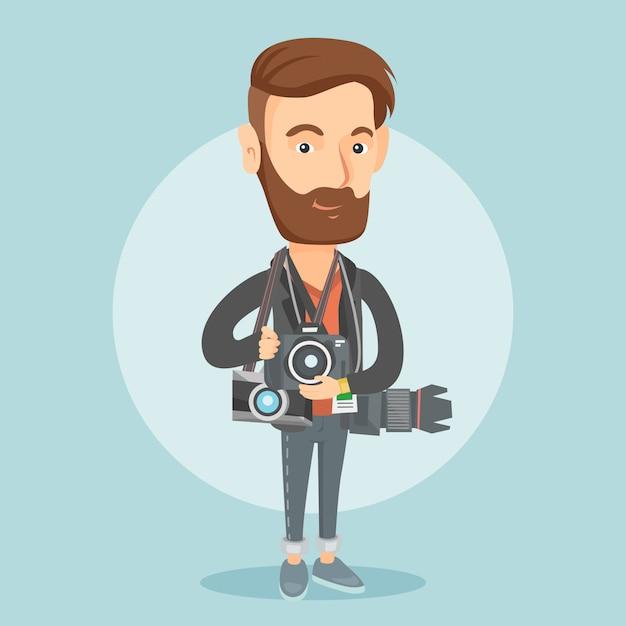 Fotograaf die foto vectorillustratie neemt. Premium Vector