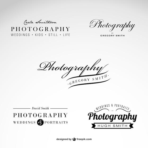 Fotografie bedrijfslogo set Gratis Vector