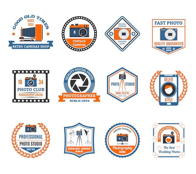 Fotografie emblemen set Gratis Vector