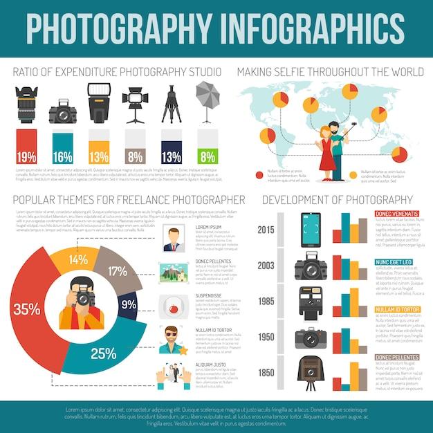 Fotografie infographic reeks Gratis Vector