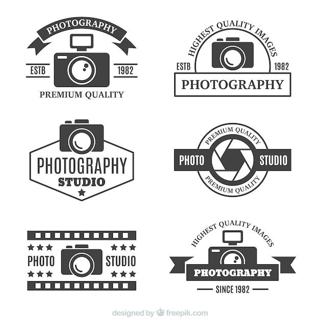 Fotografie logo in retro stijl Gratis Vector